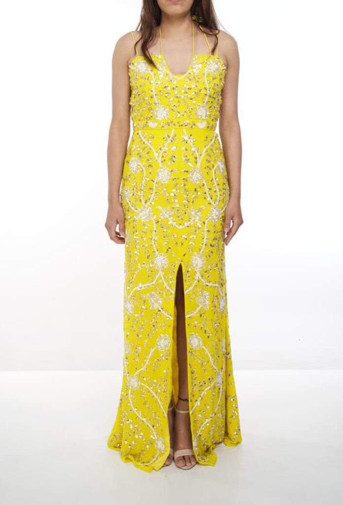 Hire Virgos Lounge Yellow Dress of Size 10 - musthavedresses.com
