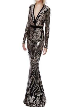 Deep V Neck Sequin Embroidered Dress Black and Gold - Must Have Dresses, UK