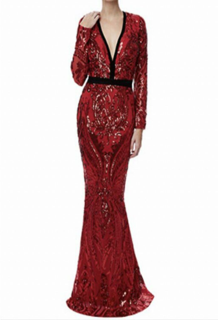 Red Designer Deep-V Neck Sequin Embroidered Maxi Dress in UK at MustHaveDresses.com
